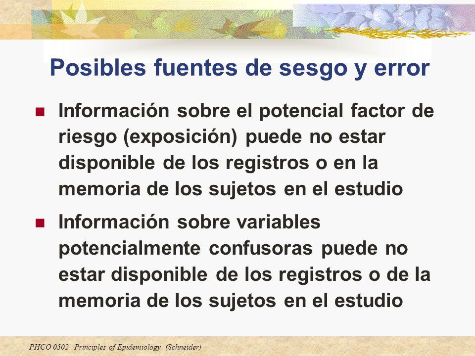 PHCO 0502 Principles of Epidemiology (Schneider) Posibles fuentes de sesgo y error Información sobre el potencial factor de riesgo (exposición) puede