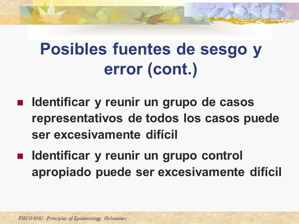 PHCO 0502 Principles of Epidemiology (Schneider) Posibles fuentes de sesgo y error (cont.) Identificar y reunir un grupo de casos representativos de t
