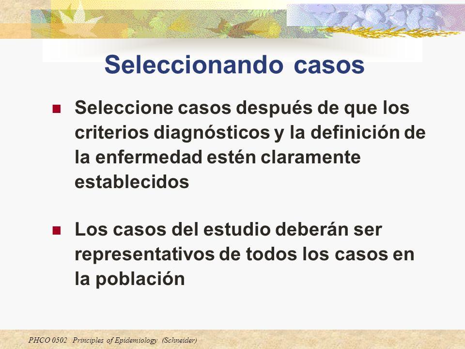 PHCO 0502 Principles of Epidemiology (Schneider) Seleccionando casos (cont.) El estudio no necesita incluir todos los casos en la población.