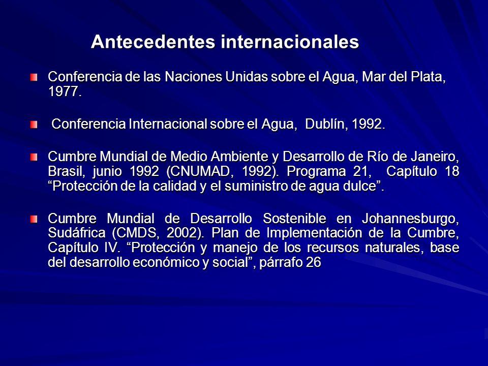 Antecedentes internacionales Antecedentes internacionales Conferencia de las Naciones Unidas sobre el Agua, Mar del Plata, 1977. Conferencia Internaci
