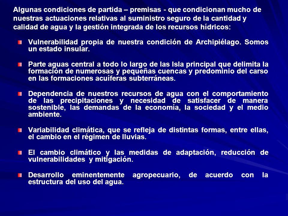 Antecedentes nacionales Antecedentes nacionales 1962 y 1989: Creación y refundación del Instituto Nacional de Recursos Hidráulicos (INRH), respectivamente.