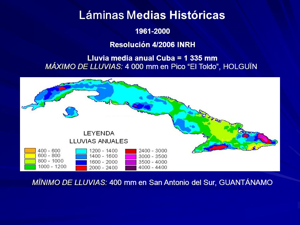 Cuenca Hidrográfica1931 - 19601961-2000Diferencias Cuyaguateje16371475-162 Ariguanabo1469151445 Almendares-Vento12721446174 Hanabanilla20851986-99 Zaza14841427-57 Cauto14791112-367 Guantánamo-Guaso11811027-154 Toa2468251850 Láminas medias históricas (mm) en cuencas de interés nacional ( Resolución 4/2006 INRH )
