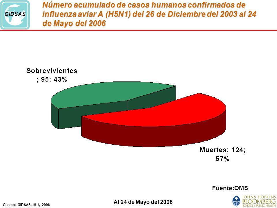 Chotani, GIDSAS-JHU, 2006 GIDSAS Número acumulado de casos humanos confirmados de influenza aviar A (H5N1) del 26 de Diciembre del 2003 al 24 de Mayo del 2006 Fuente:OMS Al 24 de Mayo del 2006
