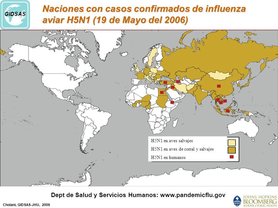 Chotani, GIDSAS-JHU, 2006 GIDSAS Naciones con casos confirmados de influenza aviar H5N1 (19 de Mayo del 2006) Dept de Salud y Servicios Humanos: www.pandemicflu.gov H5N1 en aves salvajes H5N1 en aves de corral y salvajes H5N1 en humanos