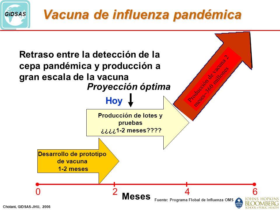 Chotani, GIDSAS-JHU, 2006 GIDSAS Retraso entre la detección de la cepa pandémica y producción a gran escala de la vacuna Producción de lotes y pruebas ¿¿¿¿1-2 meses???.