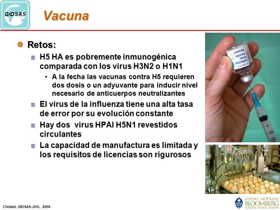 Chotani, GIDSAS-JHU, 2006 GIDSASVacunaRetos: H5 HA es pobremente inmunogénica comparada con los virus H3N2 o H1N1 A la fecha las vacunas contra H5 requieren dos dosis o un adyuvante para inducir nivel necesario de anticuerpos neutralizantesA la fecha las vacunas contra H5 requieren dos dosis o un adyuvante para inducir nivel necesario de anticuerpos neutralizantes El virus de la influenza tiene una alta tasa de error por su evolución constante Hay dos virus HPAI H5N1 revestidos circulantes La capacidad de manufactura es limitada y los requisitos de licencias son rigurosos