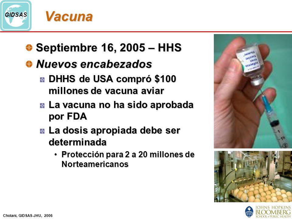 Chotani, GIDSAS-JHU, 2006 GIDSASVacuna Septiembre 16, 2005 – HHS Nuevos encabezados DHHS de USA compró $100 millones de vacuna aviar La vacuna no ha sido aprobada por FDA La dosis apropiada debe ser determinada Protección para 2 a 20 millones de NorteamericanosProtección para 2 a 20 millones de Norteamericanos