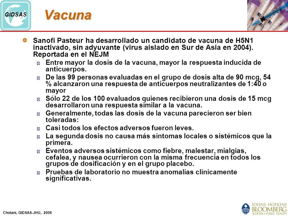 Chotani, GIDSAS-JHU, 2006 GIDSASVacuna Sanofi Pasteur ha desarrollado un candidato de vacuna de H5N1 inactivado, sin adyuvante (virus aislado en Sur de Asia en 2004).