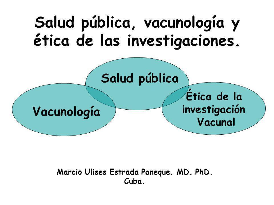 Salud pública, vacunología y ética de las investigaciones. Marcio Ulises Estrada Paneque. MD. PhD. Cuba. Salud pública Vacunología Ética de la investi