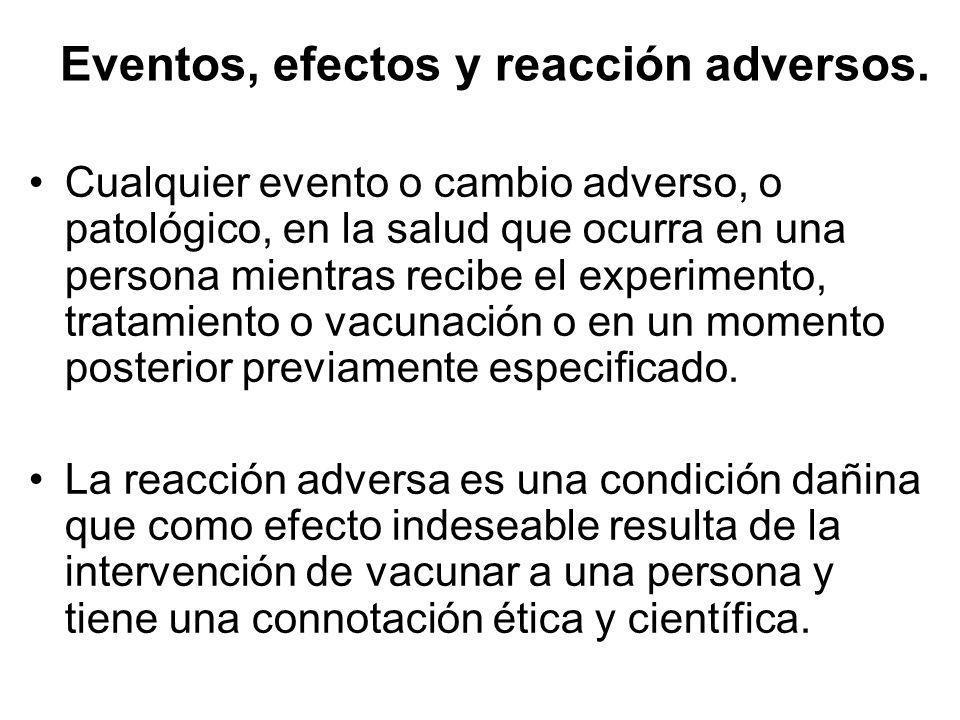 Eventos, efectos y reacción adversos. Cualquier evento o cambio adverso, o patológico, en la salud que ocurra en una persona mientras recibe el experi