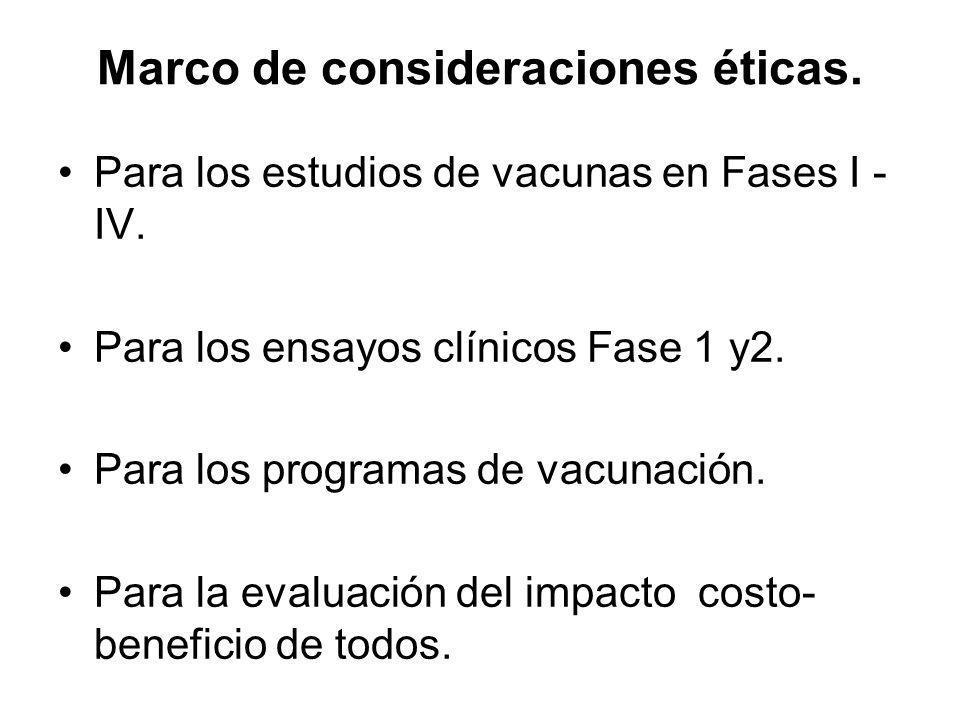 Marco de consideraciones éticas. Para los estudios de vacunas en Fases I - IV. Para los ensayos clínicos Fase 1 y2. Para los programas de vacunación.