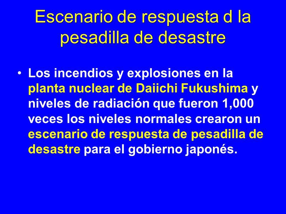 Escenario de respuesta d la pesadilla de desastre Los incendios y explosiones en la planta nuclear de Daiichi Fukushima y niveles de radiación que fue
