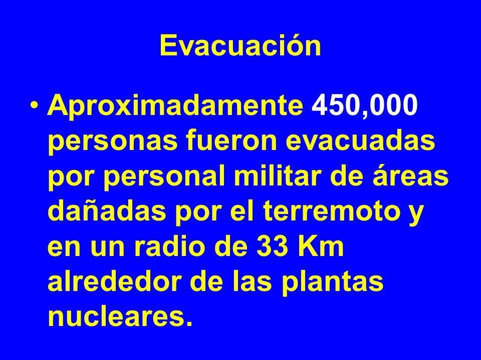 Evacuación Aproximadamente 450,000 personas fueron evacuadas por personal militar de áreas dañadas por el terremoto y en un radio de 33 Km alrededor d
