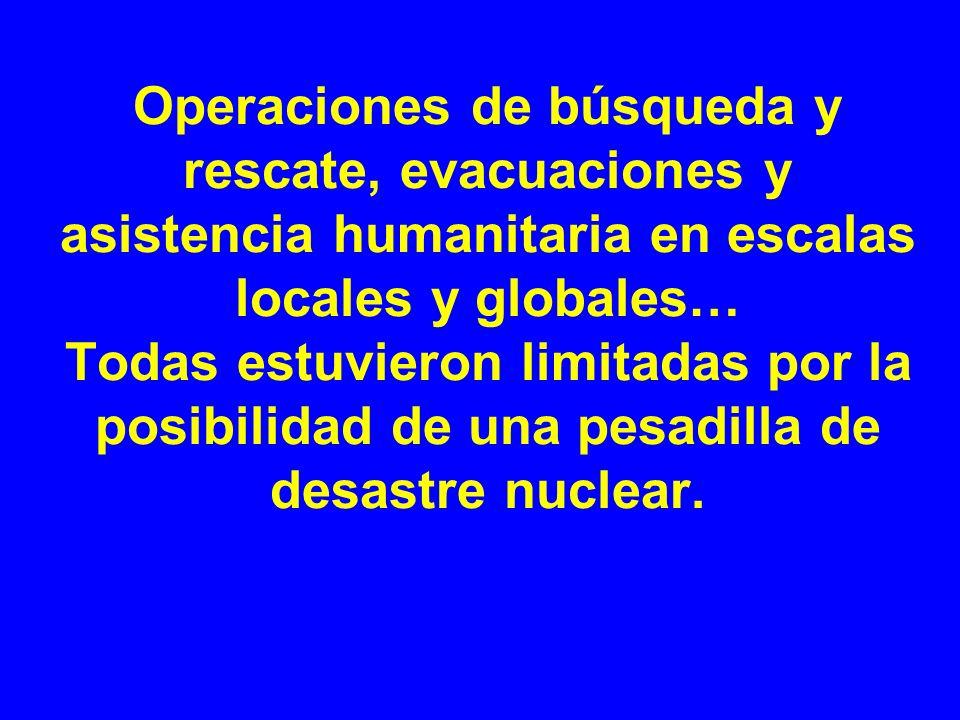 Operaciones de búsqueda y rescate, evacuaciones y asistencia humanitaria en escalas locales y globales… Todas estuvieron limitadas por la posibilidad