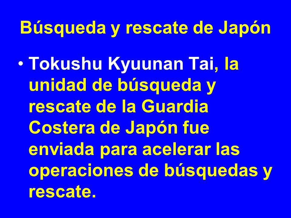 Búsqueda y rescate de Japón Tokushu Kyuunan Tai, la unidad de búsqueda y rescate de la Guardia Costera de Japón fue enviada para acelerar las operacio