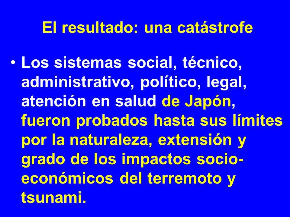 El resultado: una catástrofe Los sistemas social, técnico, administrativo, político, legal, atención en salud de Japón, fueron probados hasta sus lími