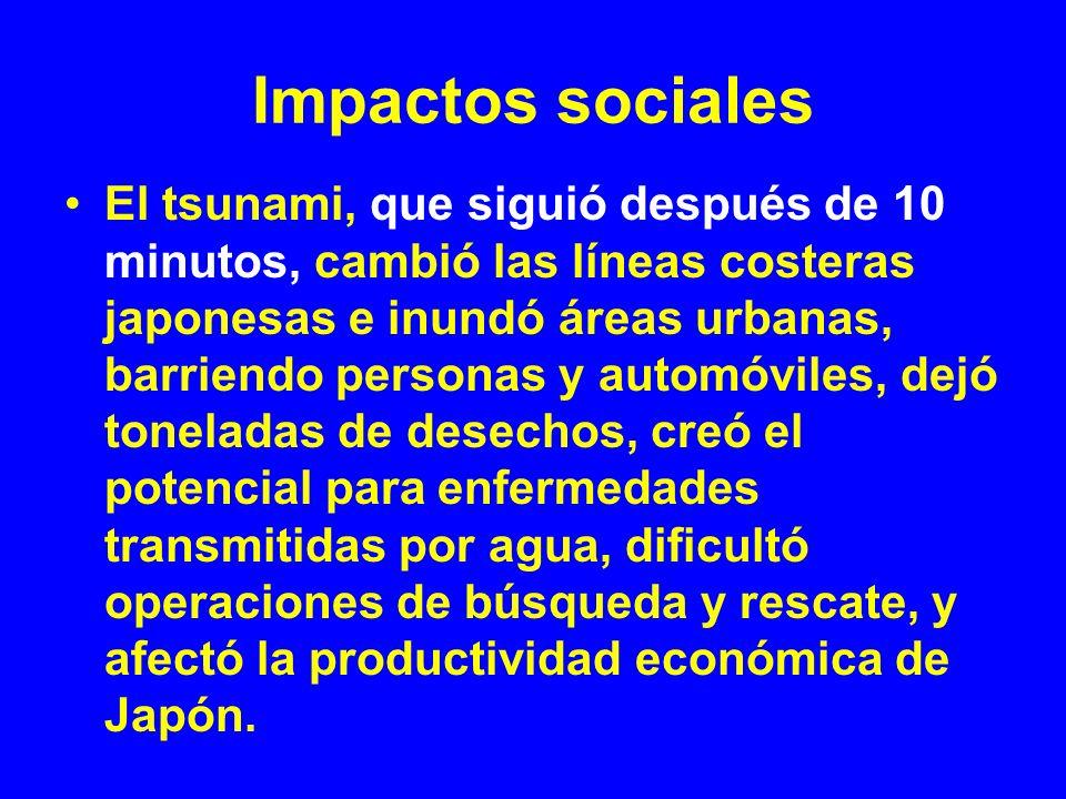 Impactos sociales El tsunami, que siguió después de 10 minutos, cambió las líneas costeras japonesas e inundó áreas urbanas, barriendo personas y auto