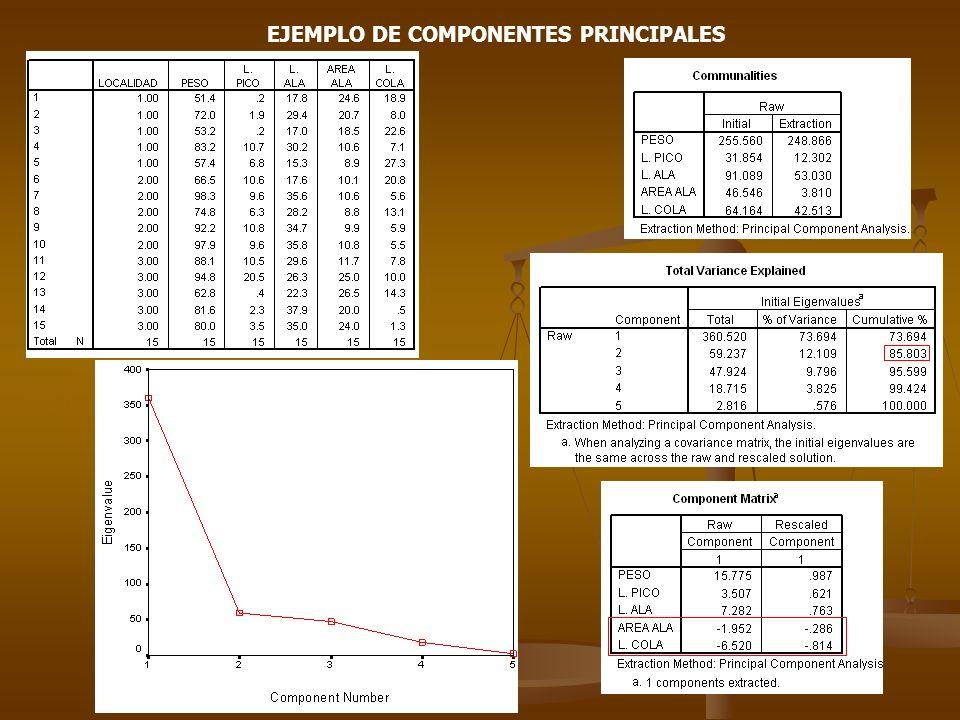 EJEMPLO DE COMPONENTES PRINCIPALES (Localidad 1) R M H