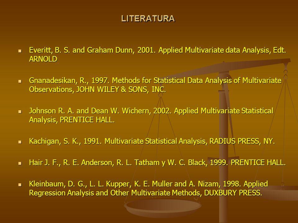 LITERATURA Everitt, B. S. and Graham Dunn, 2001. Applied Multivariate data Analysis, Edt. ARNOLD Everitt, B. S. and Graham Dunn, 2001. Applied Multiva