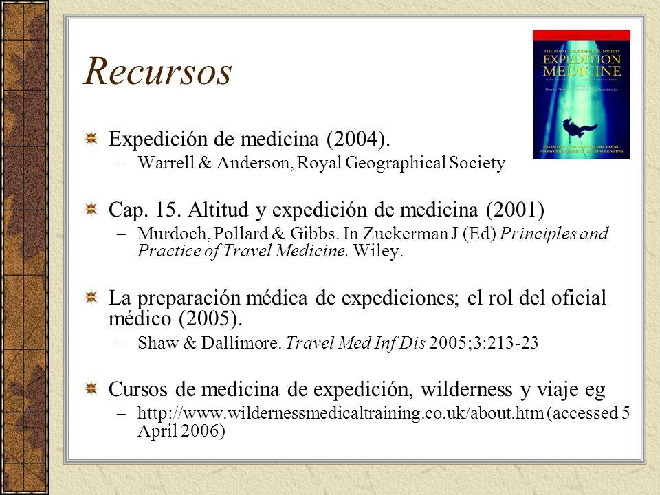 Recursos Expedición de medicina (2004).–Warrell & Anderson, Royal Geographical Society Cap.