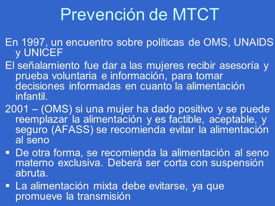 Prevención de MTCT En 1997, un encuentro sobre políticas de OMS, UNAIDS y UNICEF El señalamiento fue dar a las mujeres recibir asesoría y prueba volun