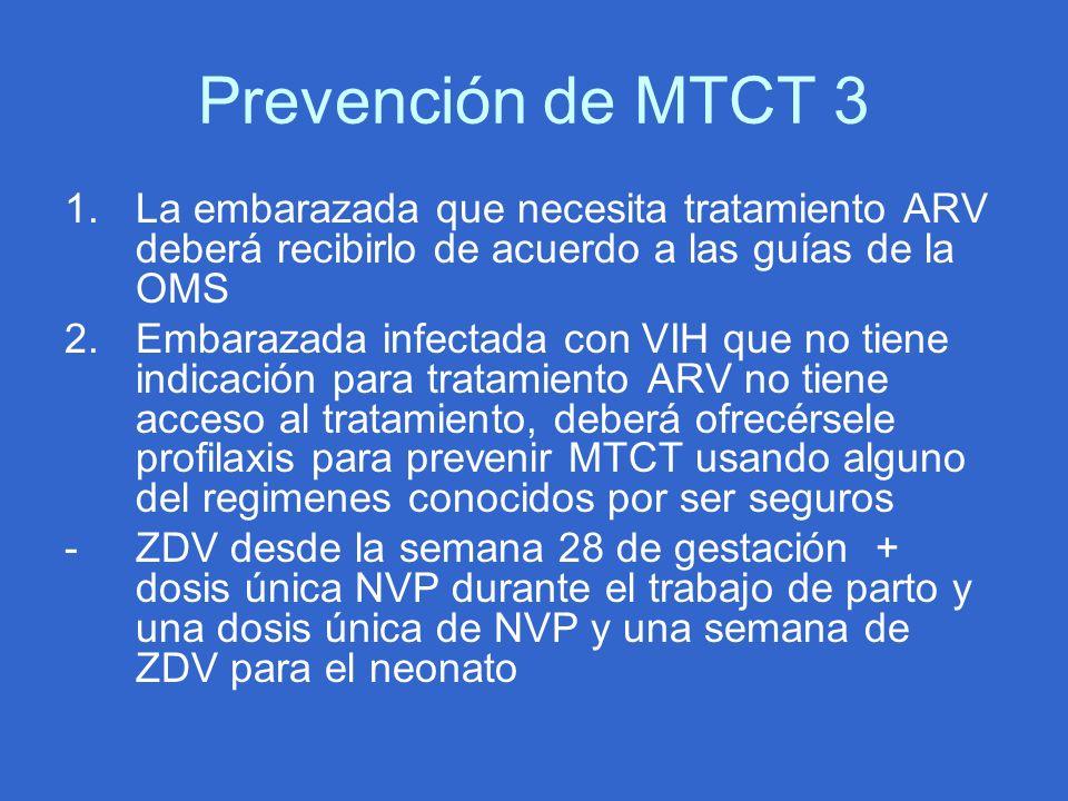 Prevención de MTCT 3 1.La embarazada que necesita tratamiento ARV deberá recibirlo de acuerdo a las guías de la OMS 2.Embarazada infectada con VIH que