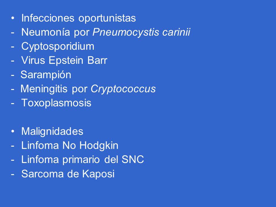 Infecciones oportunistas -Neumonía por Pneumocystis carinii -Cyptosporidium -Virus Epstein Barr - Sarampión - Meningitis por Cryptococcus -Toxoplasmos