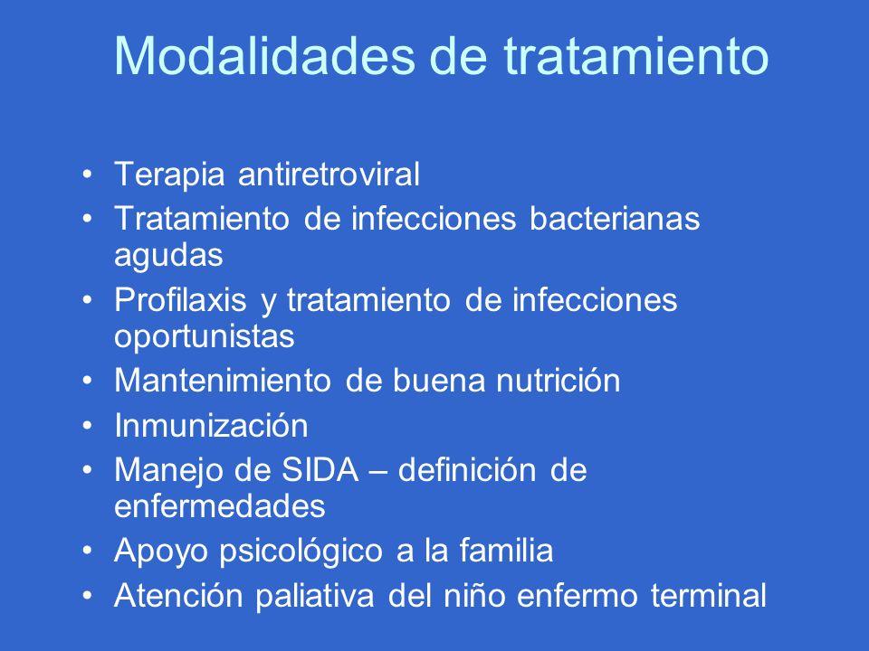 Modalidades de tratamiento Terapia antiretroviral Tratamiento de infecciones bacterianas agudas Profilaxis y tratamiento de infecciones oportunistas M
