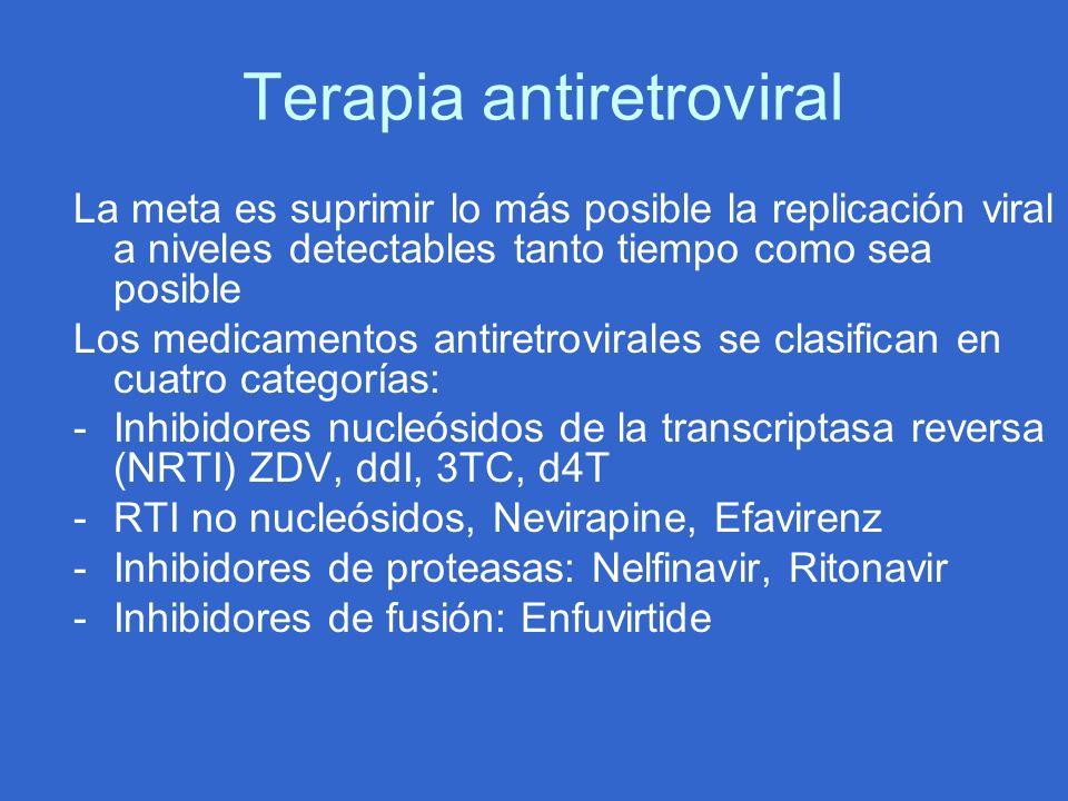 Terapia antiretroviral La meta es suprimir lo más posible la replicación viral a niveles detectables tanto tiempo como sea posible Los medicamentos an
