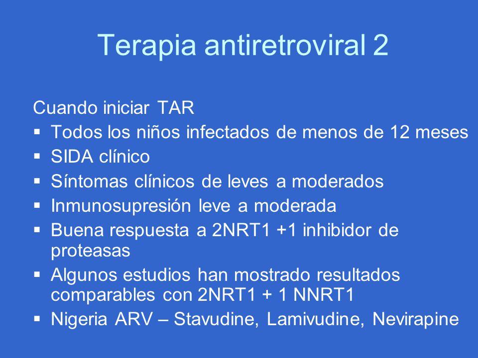 Terapia antiretroviral 2 Cuando iniciar TAR Todos los niños infectados de menos de 12 meses SIDA clínico Síntomas clínicos de leves a moderados Inmuno