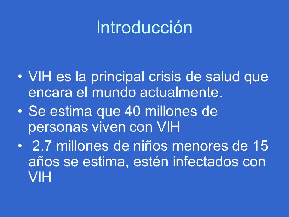 Introducción VIH es la principal crisis de salud que encara el mundo actualmente. Se estima que 40 millones de personas viven con VIH 2.7 millones de