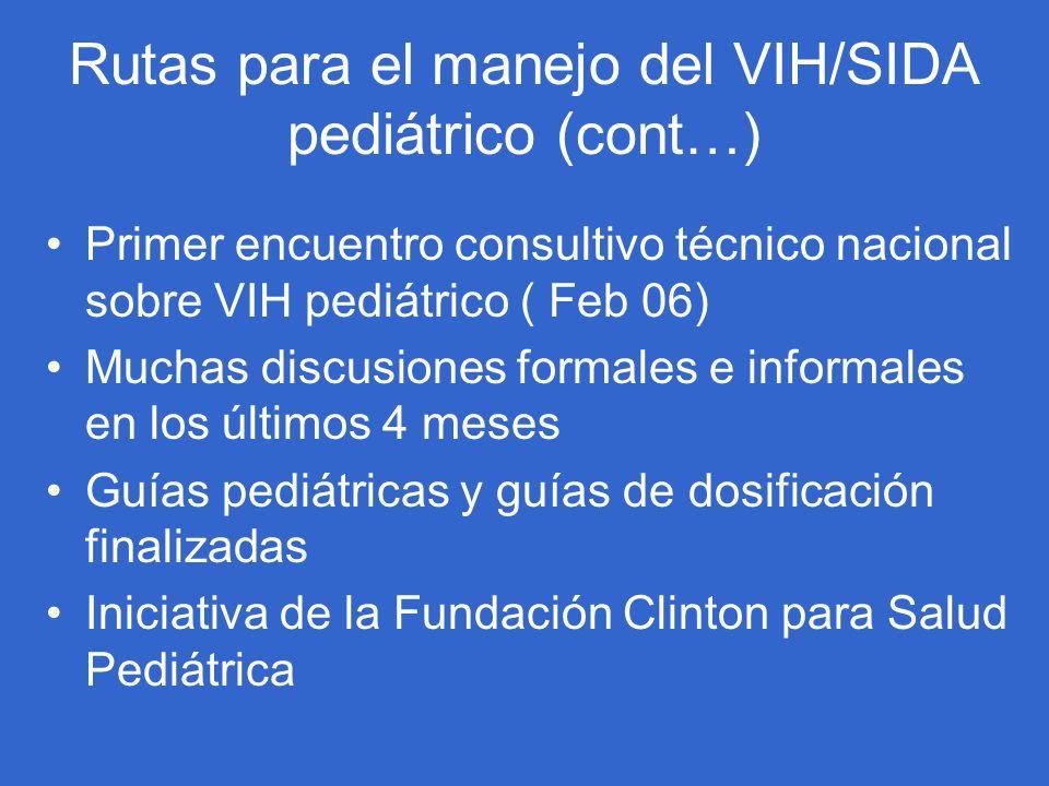 Rutas para el manejo del VIH/SIDA pediátrico (cont…) Primer encuentro consultivo técnico nacional sobre VIH pediátrico ( Feb 06) Muchas discusiones fo