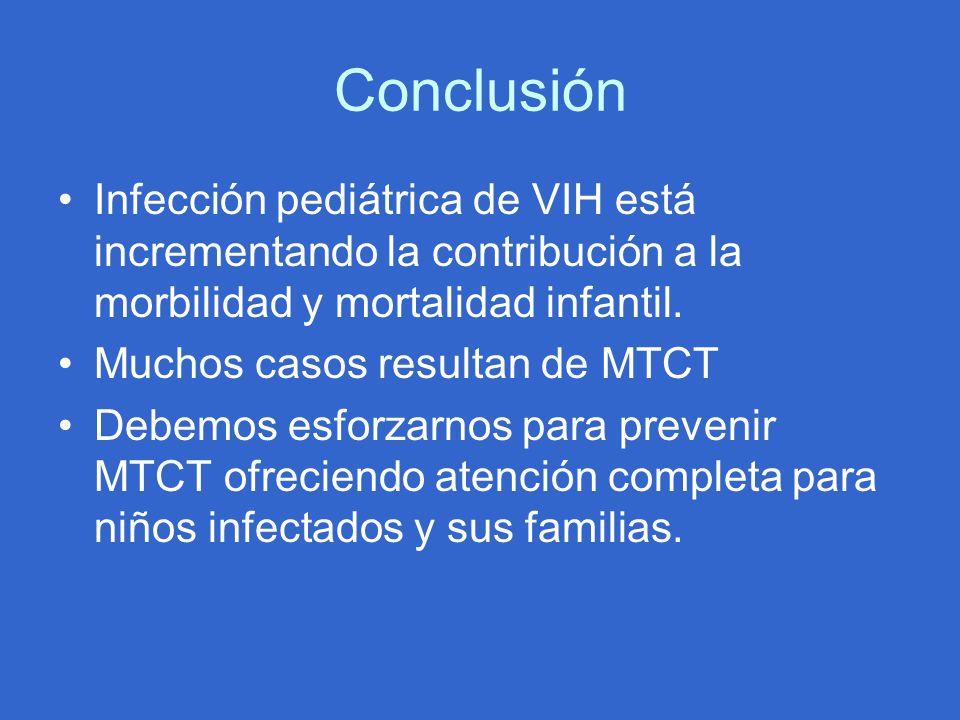 Conclusión Infección pediátrica de VIH está incrementando la contribución a la morbilidad y mortalidad infantil. Muchos casos resultan de MTCT Debemos