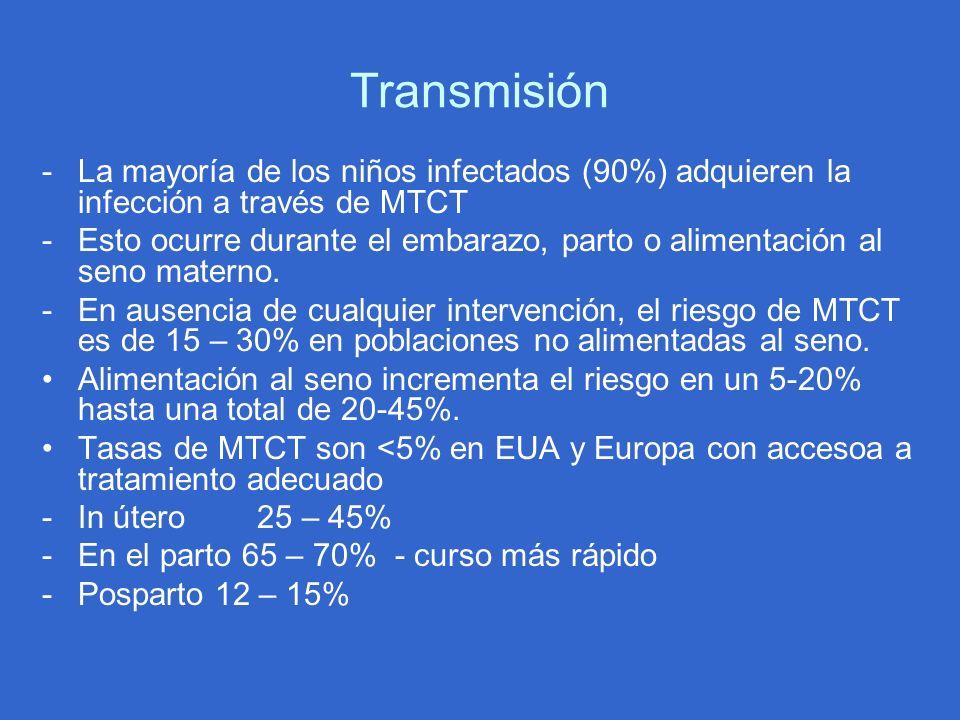 Transmisión -La mayoría de los niños infectados (90%) adquieren la infección a través de MTCT -Esto ocurre durante el embarazo, parto o alimentación a