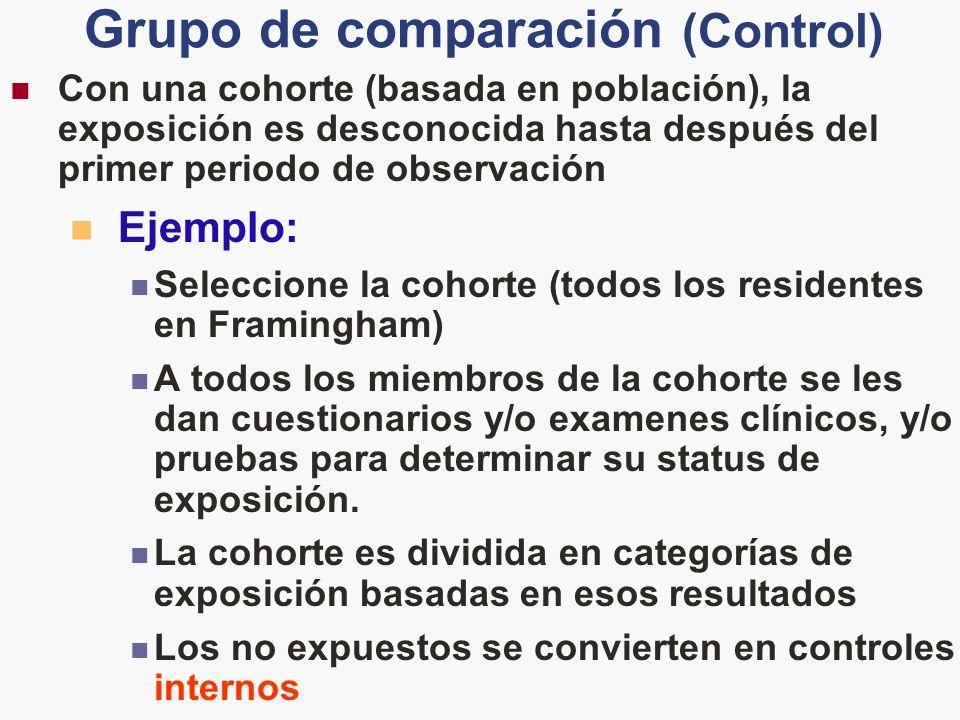 Grupo de comparación (Control) Con una cohorte (basada en población), la exposición es desconocida hasta después del primer periodo de observación Eje