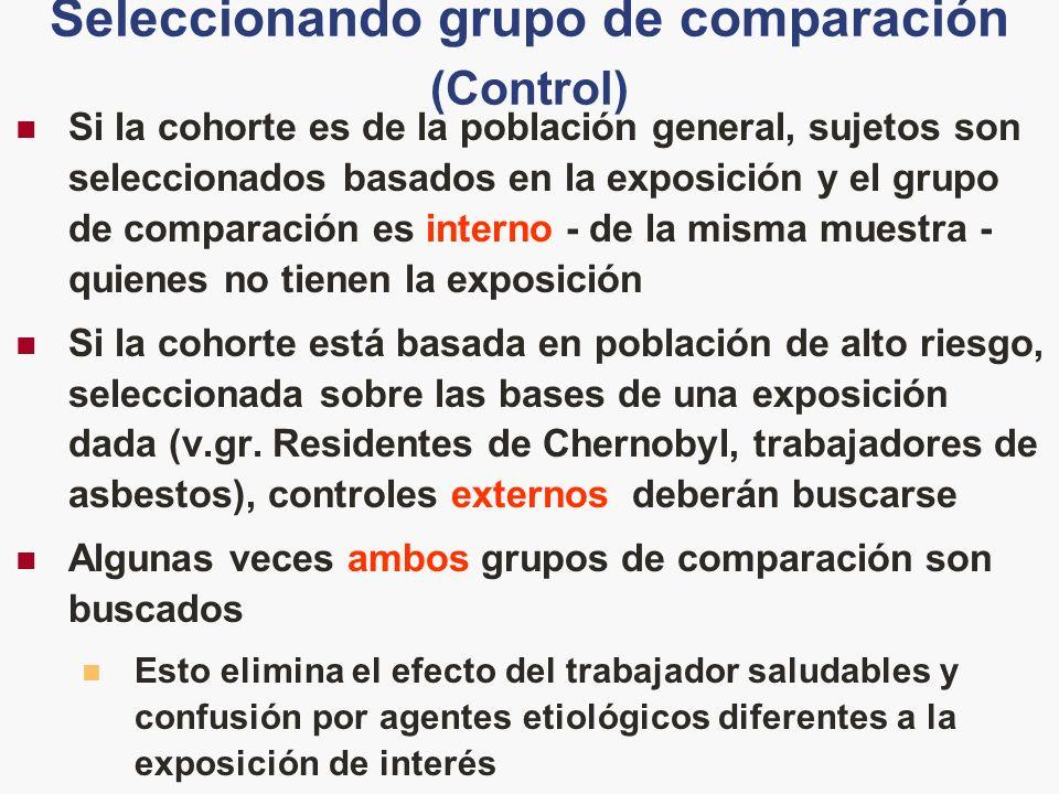 Seleccionando grupo de comparación (Control) Si la cohorte es de la población general, sujetos son seleccionados basados en la exposición y el grupo d