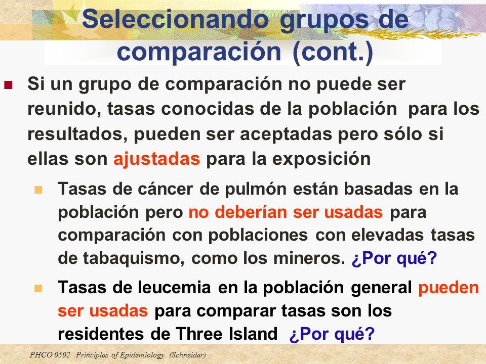 PHCO 0502 Principles of Epidemiology (Schneider) Seleccionando grupos de comparación (cont.) Si un grupo de comparación no puede ser reunido, tasas co