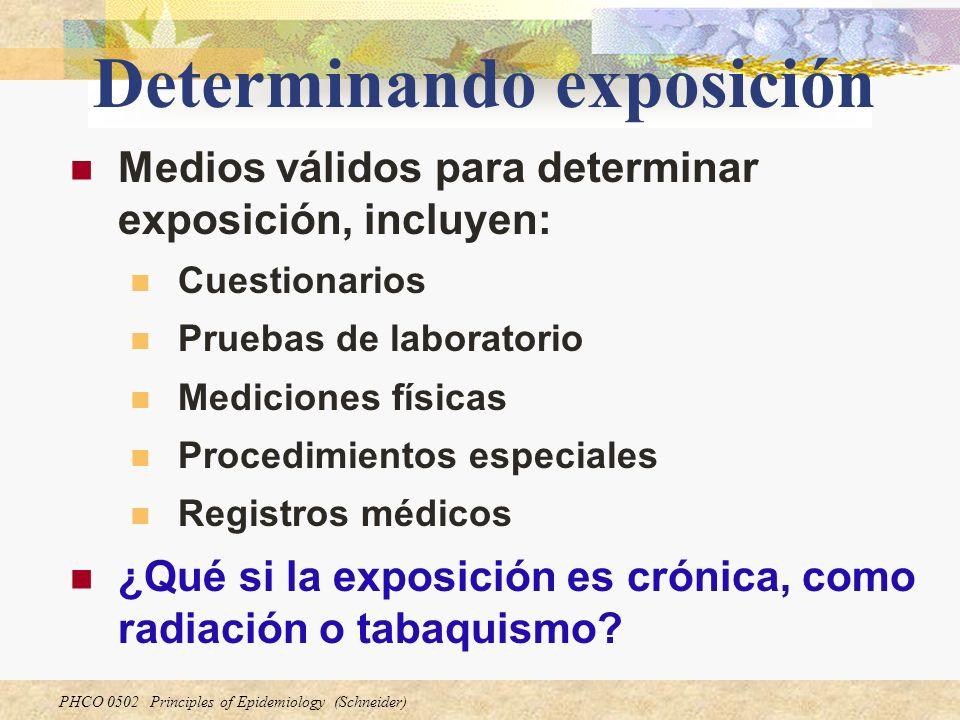 PHCO 0502 Principles of Epidemiology (Schneider) Determinando exposición Medios válidos para determinar exposición, incluyen: Cuestionarios Pruebas de