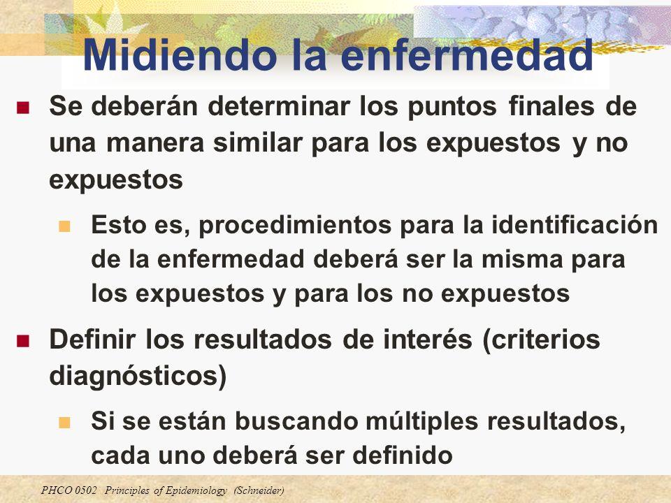 PHCO 0502 Principles of Epidemiology (Schneider) Midiendo la enfermedad Se deberán determinar los puntos finales de una manera similar para los expues