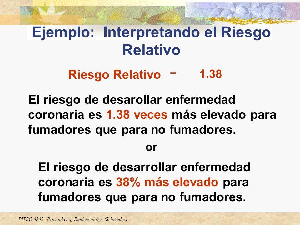 PHCO 0502 Principles of Epidemiology (Schneider) Ejemplo: Interpretando el Riesgo Relativo Riesgo Relativo = 1.38 El riesgo de desarrollar enfermedad