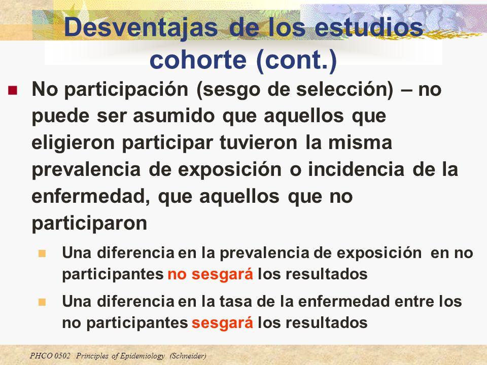 PHCO 0502 Principles of Epidemiology (Schneider) Desventajas de los estudios cohorte (cont.) No participación (sesgo de selección) – no puede ser asum