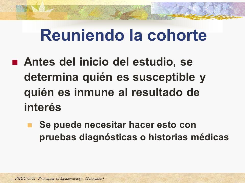 PHCO 0502 Principles of Epidemiology (Schneider) Reuniendo la cohorte Antes del inicio del estudio, se determina quién es susceptible y quién es inmun