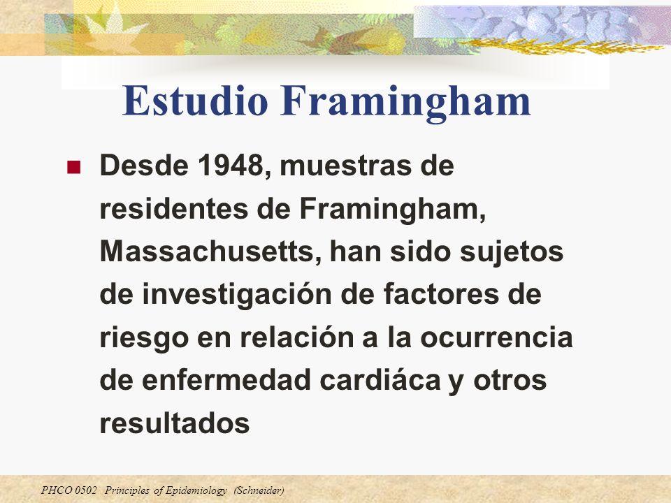 PHCO 0502 Principles of Epidemiology (Schneider) Estudio Framingham Desde 1948, muestras de residentes de Framingham, Massachusetts, han sido sujetos