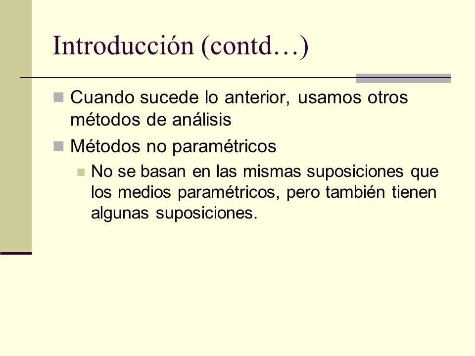 Introducción (contd…) Cuando sucede lo anterior, usamos otros métodos de análisis Métodos no paramétricos No se basan en las mismas suposiciones que l