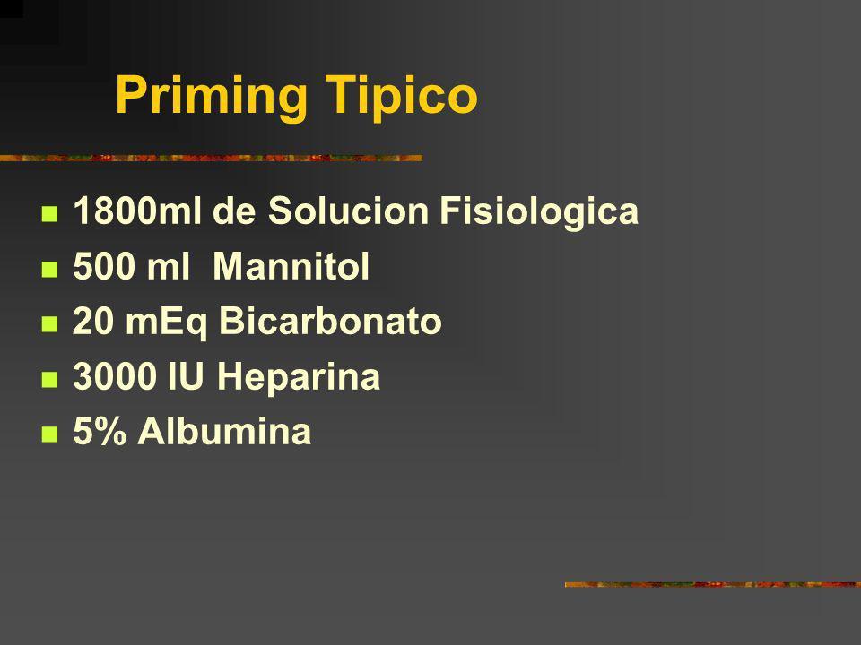 Priming Tipico 1800ml de Solucion Fisiologica 500 ml Mannitol 20 mEq Bicarbonato 3000 IU Heparina 5% Albumina