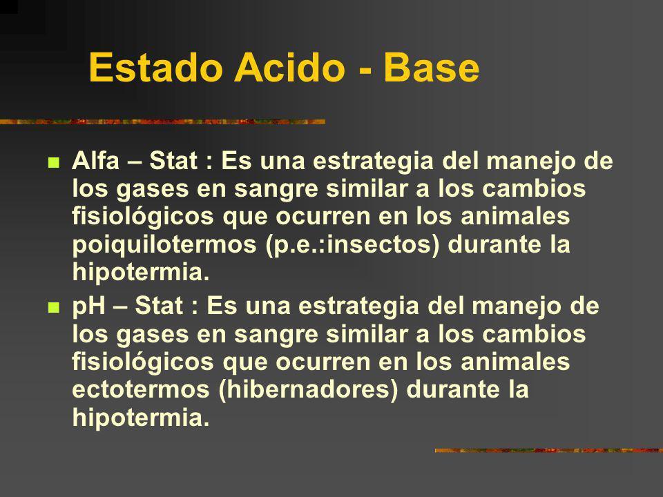 Estado Acido - Base Alfa – Stat : Es una estrategia del manejo de los gases en sangre similar a los cambios fisiológicos que ocurren en los animales p