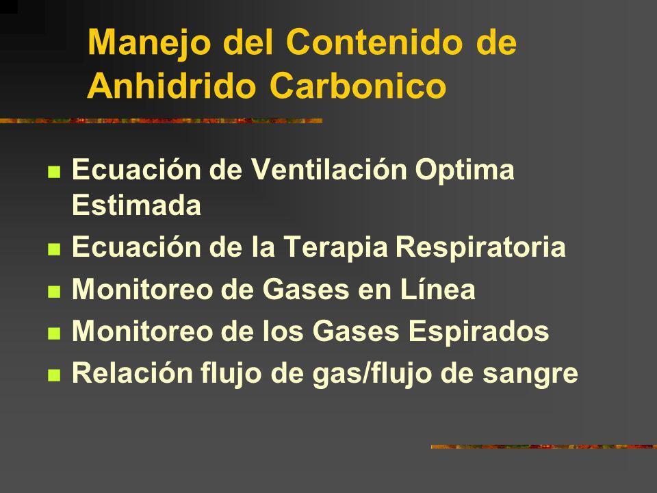 Manejo del Contenido de Anhidrido Carbonico Ecuación de Ventilación Optima Estimada Ecuación de la Terapia Respiratoria Monitoreo de Gases en Línea Mo