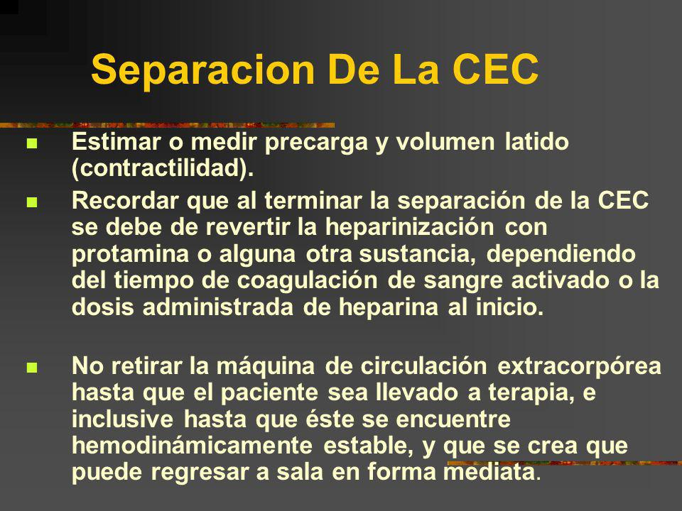 Separacion De La CEC Estimar o medir precarga y volumen latido (contractilidad). Recordar que al terminar la separación de la CEC se debe de revertir