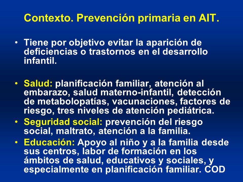 Contexto. Prevención primaria en AIT. Tiene por objetivo evitar la aparición de deficiencias o trastornos en el desarrollo infantil. Salud: planificac
