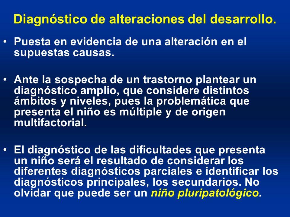 Diagnóstico de alteraciones del desarrollo. Puesta en evidencia de una alteración en el supuestas causas. Ante la sospecha de un trastorno plantear un